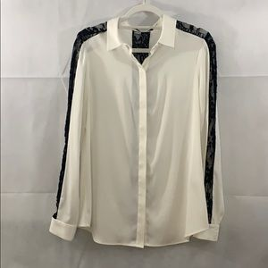 Ivanka Trump white blouse with black lace
